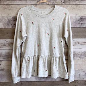 T.La Anthro Rose Embroidered Peplum Sweatshirt